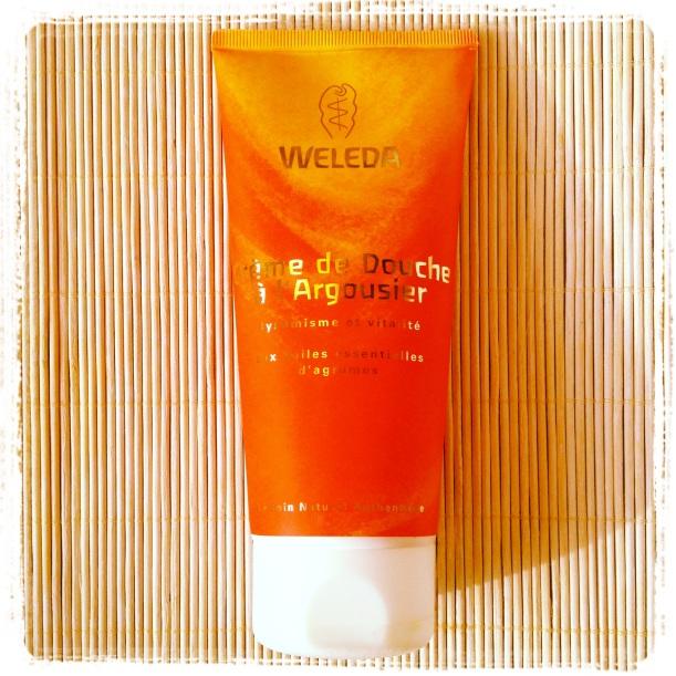 Crema de ducha de Espino Amarillo de Weleda, cosmética bio, orgánica, higiene sin jabón, limpieza suave