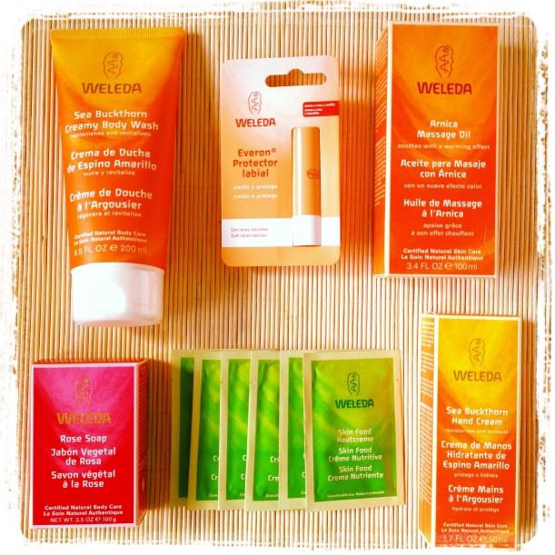 Productos primer sorteo missbioblog cosmética orgánica Weleda, Skin Food, Crema de ducha de espino amarillo, crema de manos de espino amarillo, jabón de rosas, bálsamo labial Everon, aceite de masaje de árnica