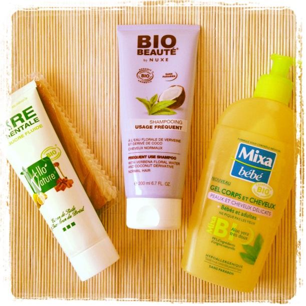 Compras de cosmética orgánica Francia, cera depilatoria de azúcar, champú Bio beauté by Nuxe, gel de ducha Mixa bebé Bio