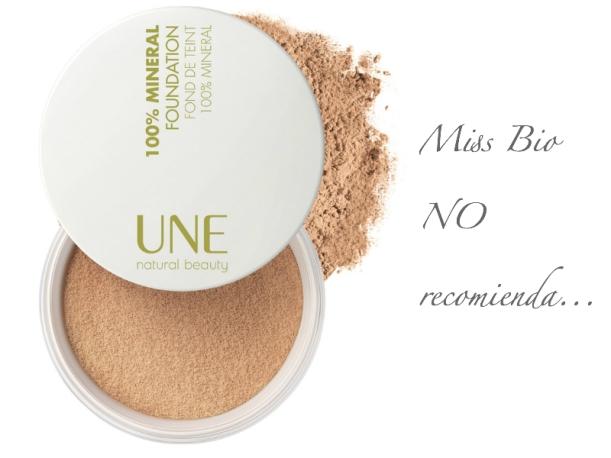 Polvos minerales UNE Natural Beauty, no recomendados, contienen Bismut Oxychloride