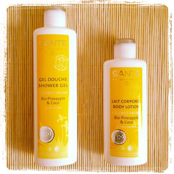 Coconut Dream de Sante, gel de ducha y loción corporal con aroma a piña y coco, cosmética orgánica certificada