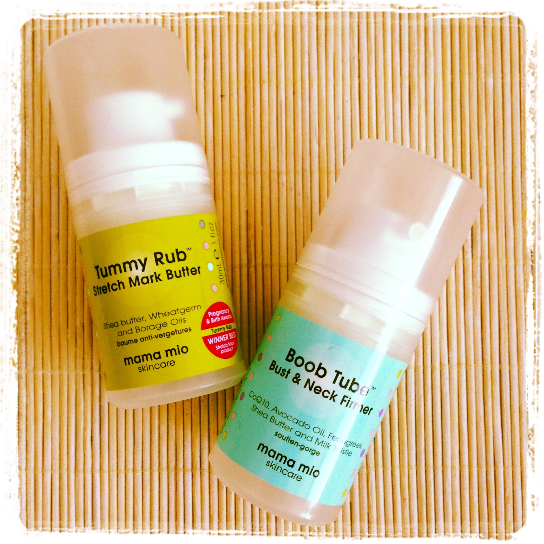 Mama Mio Tummy Tub y Boob Tube, cremas certificadas orgánicas para embarazadas, anti-estrías y pecho