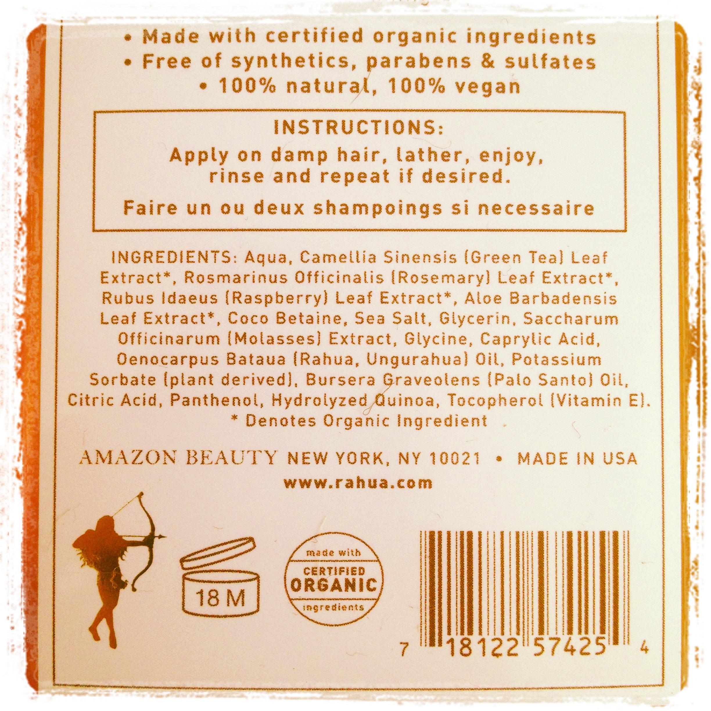 Composición champú Rahua, Palo Santo, cosmética ecológica, certificada Bio, ingredientes orgánicos