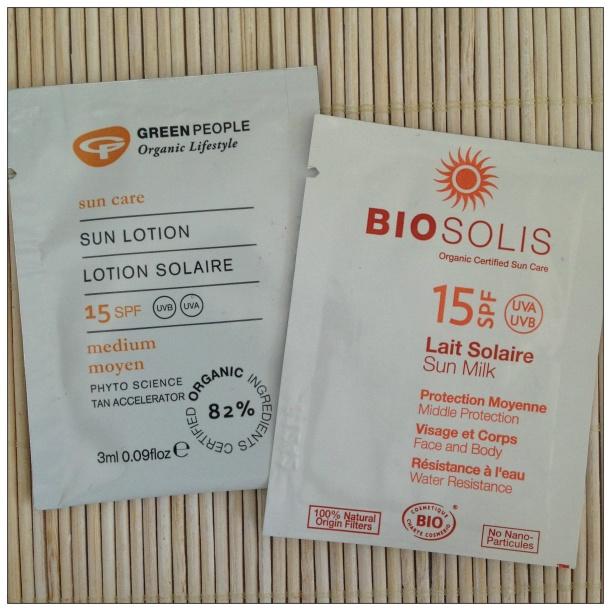 Muestras de protectores solares minerales BIO, Green People y BioSolis, SPF15
