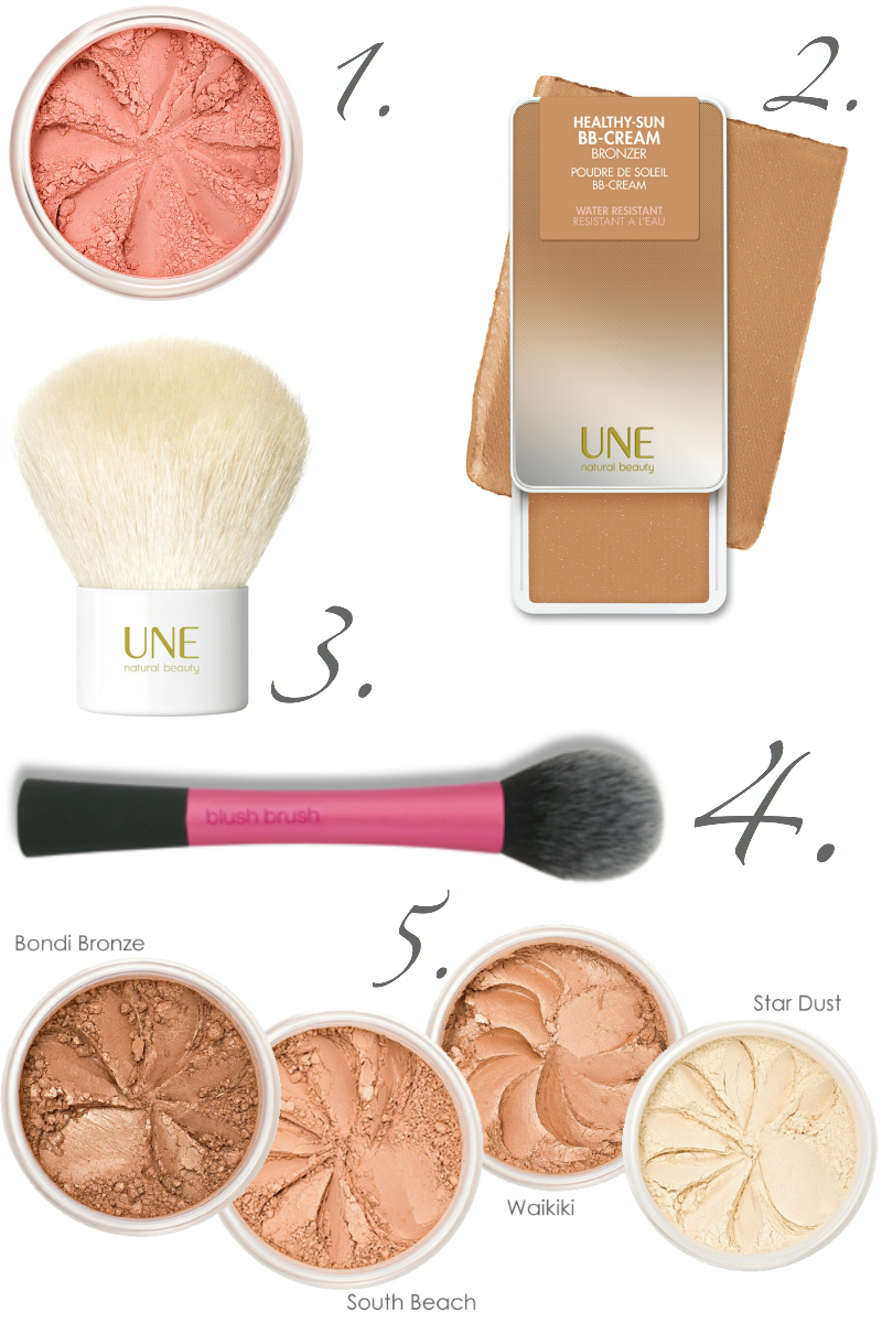 Summer wish list, lista de deseos para verano, cosmética bio maquillaje mireal Lily Lolo, Une Natura beauty, brocha colorete real Techniques