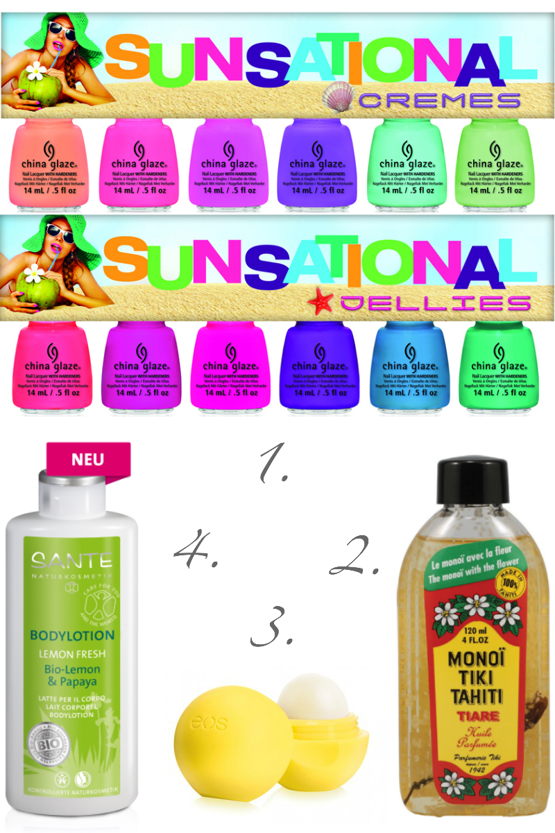 Summer Wishlist, lista de deseos para verano, cosmética orgánica o natural, monoï Tiki, bálsamo labial e.o.s, loción Lemon Fresh Sante, esmaltes Sunsational China Glaze
